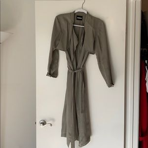 Monrow twill long trench coat size S
